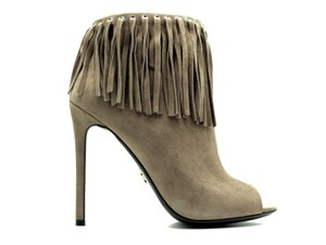 Prada Fringe Ankle Boots Open Toe Suede Vizone Formal