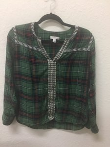 J.Crew Top Green/Plaid
