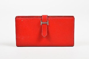 Hermès Hermes Rouge Garance Red Mysore Leather Bearn Bi Fold Wallet