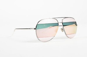 Dior Christian Dior Silver Tone Pink Teal Frosted Stripe Split 2 Aviator Sunglasses