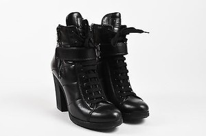 f483e256954 Prada Sport Black Leather Lace Up Combat Heeled Ankle Boots 40.5
