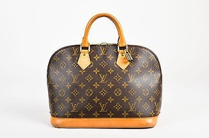 Louis Vuitton Tan Coated Canvas Leather Monogram Alma Pm Satchel in Brown