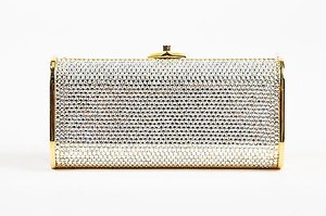 Judith Leiber Gold Tone Crystal Encrusted Chain Minaudiere Silver Clutch
