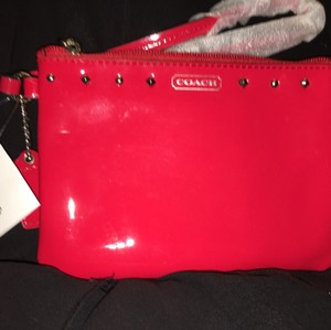 Coach F50729 Studded Liquid Gloss Small Wristlet in RED