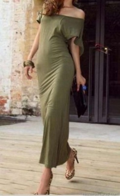 Army Green Maxi Dress by Unknown Maxi Chic Backless