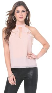 bebe Shirt Ruffle Top Light Pink