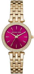 Michael Kors $250 NWT Mini Darci Gold-Tone Fuchsia dial Watch MK3444