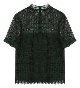 Zara Lace Sheer Back Top Bottle Green