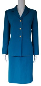 Le Suit LE SUIT Teal Career Skirt Suit 8P Petite 8