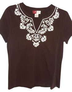 JM Collection Cotton Knit T Shirt BROWN