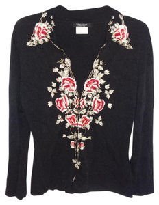 Karen Kane Embroidered Front Long Sleeve Top BLACK