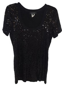 Karen Kane Sequin Short Sleeve T Shirt BLACK