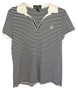 Lauren Ralph Lauren Short Sleeve Stripe T Shirt BLACK/WHTE