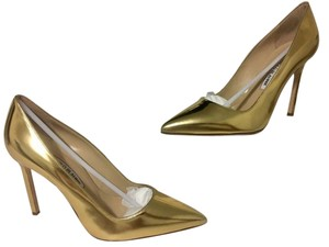 Manolo Blahnik Leather Gold Pumps