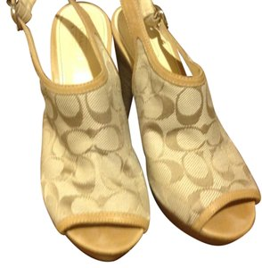 Coach Sandal Like New Great Price Coach logo in taupe, beige Wedges