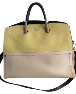 Furla Leather Italian Yellow Satchel in Yellow/Tan