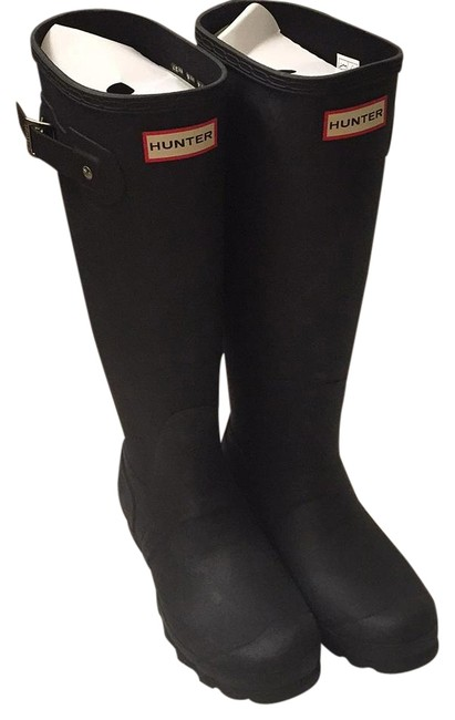 Item - Black Rubber Buckle Detail Knee-high Rain Boots/Booties Size US 6 Regular (M, B)