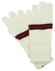 Gucci GUCCI 294732 Unisex Wool Webstripe Gloves, Off-White Size L