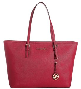 Michael Kors Mk Travel Tote in Cherry Red/Gold Hardware
