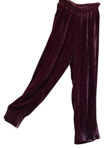 Johnny Was Silk Velvet Embroidered Wide Leg Pants Mulberry
