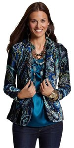 Chico's Paisley Velvet Evening Night Out MULTI COLOR Blazer