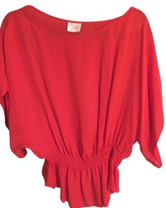 Parker Peplum Cinched Top Red