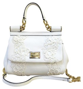 Dolce&Gabbana Lace Tote Small Sicily Satchel in white