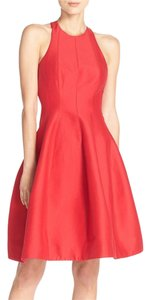 Halston short dress red Lbd Flare Christmas Open Back on Tradesy