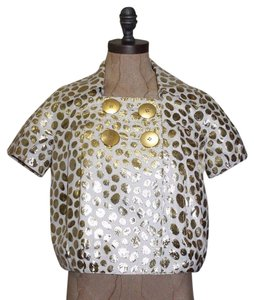 LaROK Cropped Dotted Evening Holiday GOLD Jacket