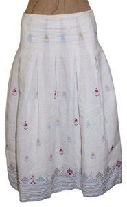 French Connection Pleated Floral Embroidered Skirt WHITE