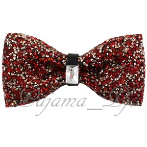 Rhinstone Red Crystal Diamond Style Pre Tied Bow Tie Wedding Party Prom Accessory