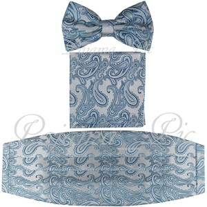 Blue Italian Paisley Design Turquoise Cummerbund Bow Tie Pocket Square Hanky Set Men's Jewelry/Accessory