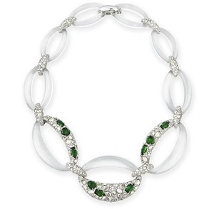 Alexis Bittar Alexis Bittar Clear Green Crystal Encrusted Clear Lucite Link Necklace