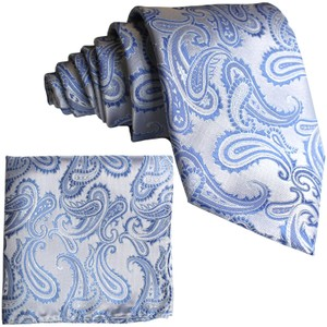 Brand Q Blue New Men's Light Paisley Design Self Necktie and Handkerchief Set Tie/Bowtie