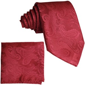 Brand Q Red New Men's Paisley Design Self Necktie and Handkerchief Set Tie/Bowtie