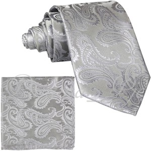 Brand Q Silver New Men's Paisley Design Self Necktie and Handkerchief Set Tie/Bowtie