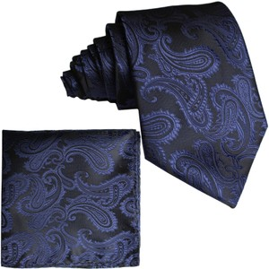 Brand Q New Men's Navy Blue Paisley Design Self Tie Necktie And Handkerchief Set