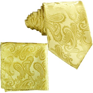Brand Q New Men's Gold Paisley Design Self Tie Necktie And Handkerchief Set 600h