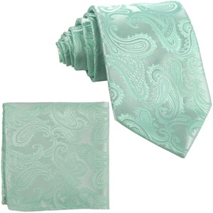 Brand Q Green New Men's Aqua Paisley Design Self Necktie and Handkerchief Set Tie/Bowtie