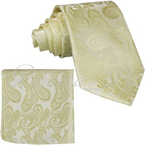 Brand Q Yellow New Men's Canary Paisley Design Self Necktie and Handkerchief Set Tie/Bowtie