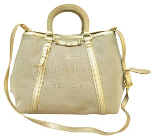 Prada Leather-canvas Logo Satchel in gold