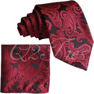 Brand Q Red New Men's / Black Paisley Design Self Necktie and Handkerchief Set Tie/Bowtie