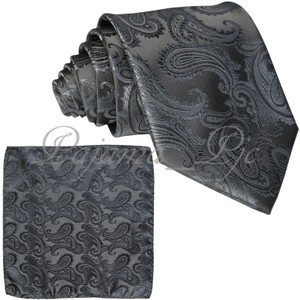 Brand Q Grey New Men's Charcoal Paisley Design Self Necktie and Handkerchief Set Tie/Bowtie