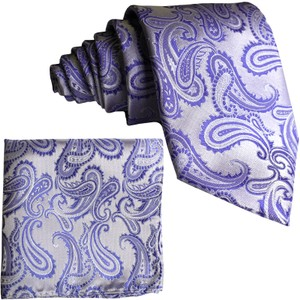 Brand Q New Men's Lavender Paisley Design Self Tie Necktie And Handkerchief Set