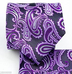 Brand Q Purple / Black New Men's / Paisley Design Self Necktie and Handkerchief Set Tie/Bowtie