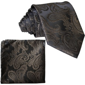 Brand Q Brown New Men's Paisley Design Self Necktie and Handkerchief Set Tie/Bowtie