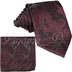 Brand Q New Men's Wine Red Paisley Design Self Tie Necktie And Handkerchief Set