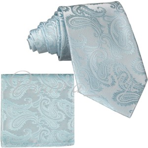 Brand Q Blue New Men's Lt Spa Paisley Design Self Necktie and Handkerchief Set Tie/Bowtie