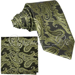 Brand Q Green New Men's Olive Paisley Design Self Necktie and Handkerchief Set Tie/Bowtie