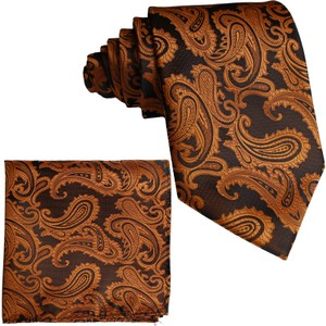 Brand Q Rust New Men's Orange Paisley Design Self Necktie and Handkerchief Set Tie/Bowtie